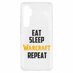 Чехол для Xiaomi Mi Note 10 Lite Eat sleep Warcraft repeat