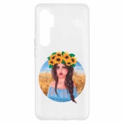 Чехол для Xiaomi Mi Note 10 Lite Girl in a wreath of sunflowers