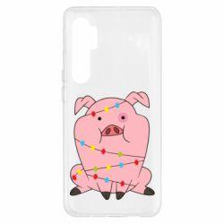 Чехол для Xiaomi Mi Note 10 Lite Свинья обмотанная гирляндой