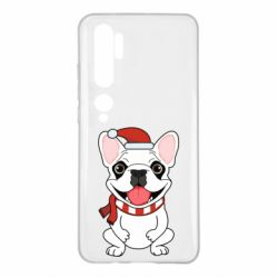 Чехол для Xiaomi Mi Note 10 New Year's French Bulldog