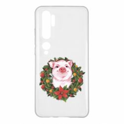 Чохол для Xiaomi Mi Note 10 Pig with a Christmas wreath