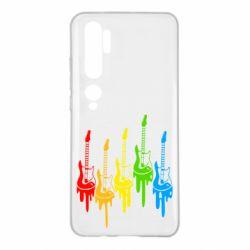 Чехол для Xiaomi Mi Note 10 Разноцветные гитары