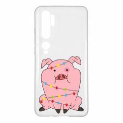 Чехол для Xiaomi Mi Note 10 Свинья обмотанная гирляндой