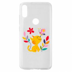 Чехол для Xiaomi Mi Play Cat, Flowers and Butterfly