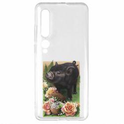 Чехол для Xiaomi Mi10/10 Pro Black pig and flowers
