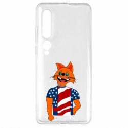 Чехол для Xiaomi Mi10/10 Pro Cat in American Flag T-shirt