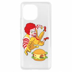 Чехол для Xiaomi Mi11 Clown in flight with a burger