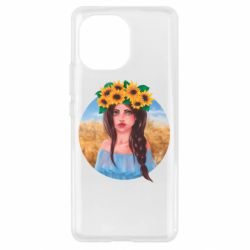 Чехол для Xiaomi Mi11 Girl in a wreath of sunflowers