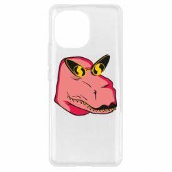 Чехол для Xiaomi Mi11 Pink dinosaur with glasses head