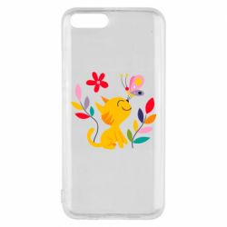 Чехол для Xiaomi Mi6 Cat, Flowers and Butterfly