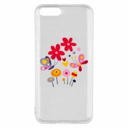 Чехол для Xiaomi Mi6 Flowers and Butterflies