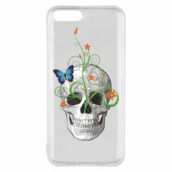 Чехол для Xiaomi Mi6 Skull and green flower