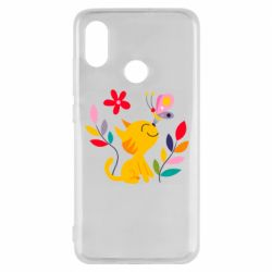 Чехол для Xiaomi Mi8 Cat, Flowers and Butterfly
