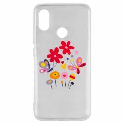 Чехол для Xiaomi Mi8 Flowers and Butterflies