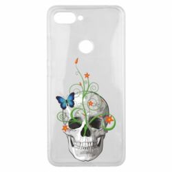 Чехол для Xiaomi Mi8 Lite Skull and green flower