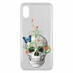 Чехол для Xiaomi Mi8 Pro Skull and green flower