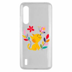 Чехол для Xiaomi Mi9 Lite Cat, Flowers and Butterfly
