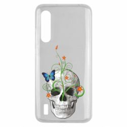 Чехол для Xiaomi Mi9 Lite Skull and green flower