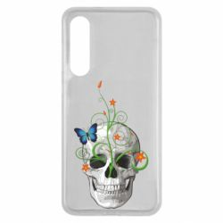 Чехол для Xiaomi Mi9 SE Skull and green flower