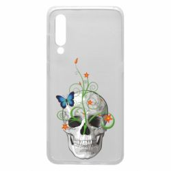 Чехол для Xiaomi Mi9 Skull and green flower