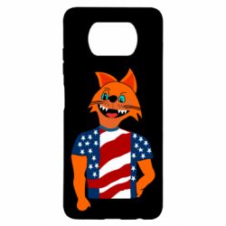 Чехол для Xiaomi Poco X3 Cat in American Flag T-shirt
