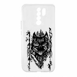 Чехол для Xiaomi Redmi 9 Black wolf with patterns