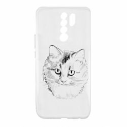 Чехол для Xiaomi Redmi 9 Cat drawing digital brush