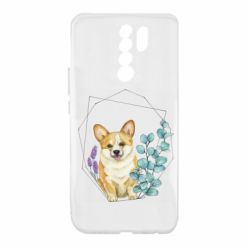 Чехол для Xiaomi Redmi 9 Corgi and flowers