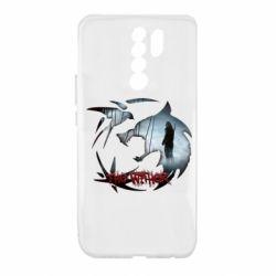 Чехол для Xiaomi Redmi 9 Emblem wolf and text The Witcher