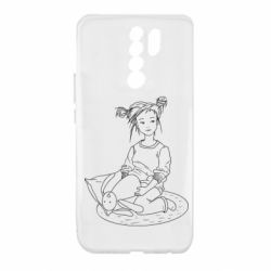 Чехол для Xiaomi Redmi 9 Girl with a toy bunny