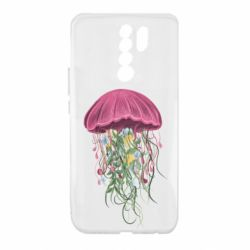 Чехол для Xiaomi Redmi 9 Jellyfish and flowers