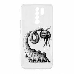 Чехол для Xiaomi Redmi 9 Long-necked Mustachioed Monster