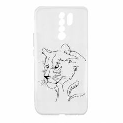 Чехол для Xiaomi Redmi 9 Outline drawing of a lion