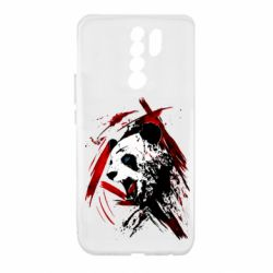 Чехол для Xiaomi Redmi 9 Panda and paint strokes