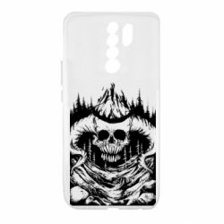 Чехол для Xiaomi Redmi 9 Skull with horns in the forest