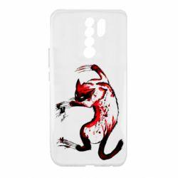 Чехол для Xiaomi Redmi 9 Watercolor Aggressive Cat