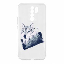 Чехол для Xiaomi Redmi 9 Wolf and forest