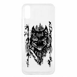 Чехол для Xiaomi Redmi 9a Black wolf with patterns
