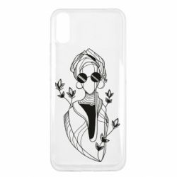 Чехол для Xiaomi Redmi 9a Girl in flowers and glasses