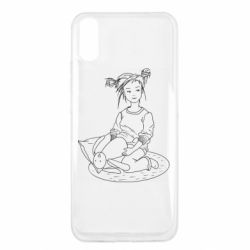 Чехол для Xiaomi Redmi 9a Girl with a toy bunny