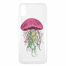 Чехол для Xiaomi Redmi 9a Jellyfish and flowers