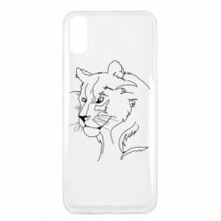 Чехол для Xiaomi Redmi 9a Outline drawing of a lion