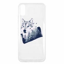 Чехол для Xiaomi Redmi 9a Wolf and forest