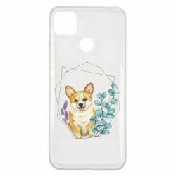 Чехол для Xiaomi Redmi 9c Corgi and flowers