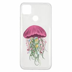 Чехол для Xiaomi Redmi 9c Jellyfish and flowers