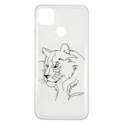 Чехол для Xiaomi Redmi 9c Outline drawing of a lion