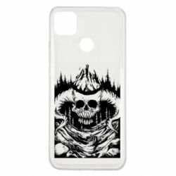 Чехол для Xiaomi Redmi 9c Skull with horns in the forest