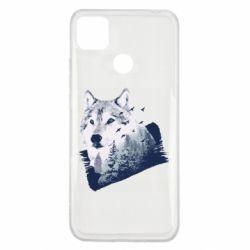 Чехол для Xiaomi Redmi 9c Wolf and forest