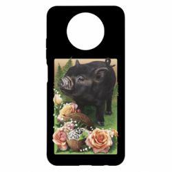 Чехол для Xiaomi Redmi Note 9 5G/Redmi Note 9T Black pig and flowers