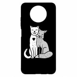 Чехол для Xiaomi Redmi Note 9 5G/Redmi Note 9T Fox and cat heart